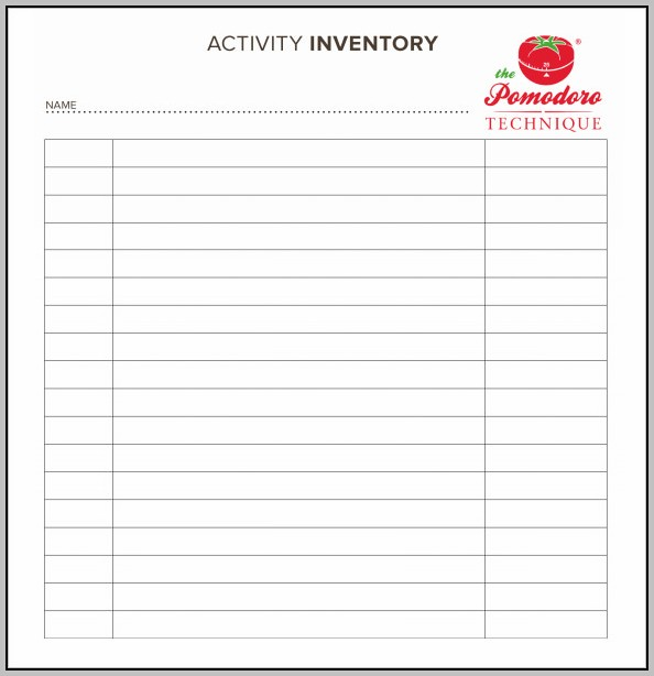 Blank Inventory Sheets