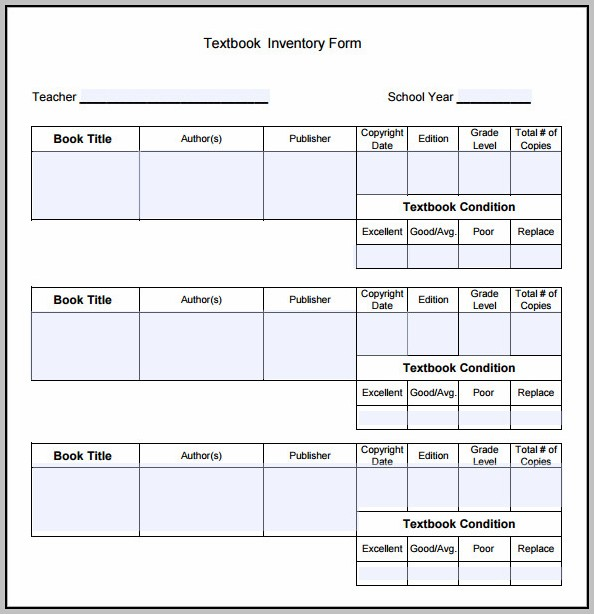 Book Inventory Template