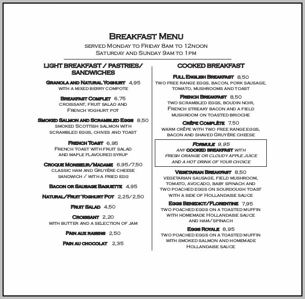Breakfast Menu Template Free