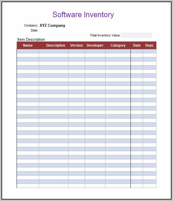 Business Inventory List