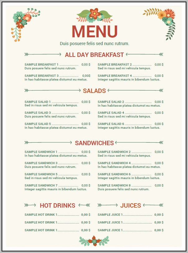 Cafe Menu Template Word Free