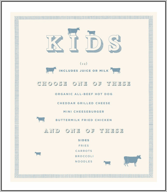 Children's Menu Template