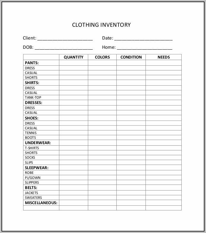 Clothing Store Inventory Spreadsheet Template
