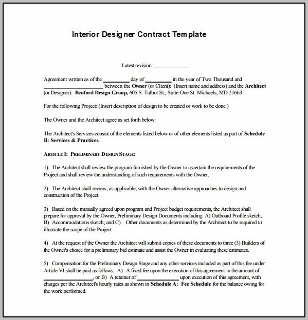 Commercial Interior Design Agreement