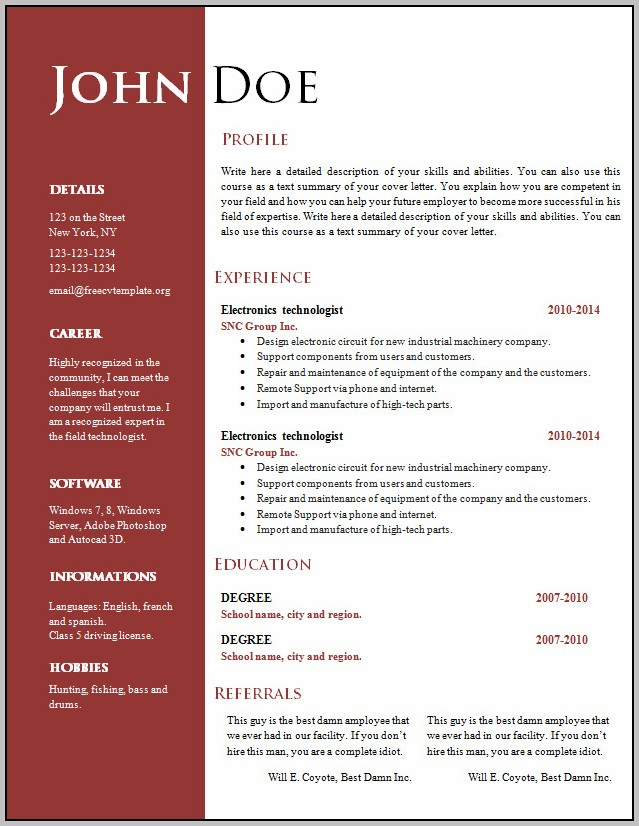 Creative Resume Format Free Download