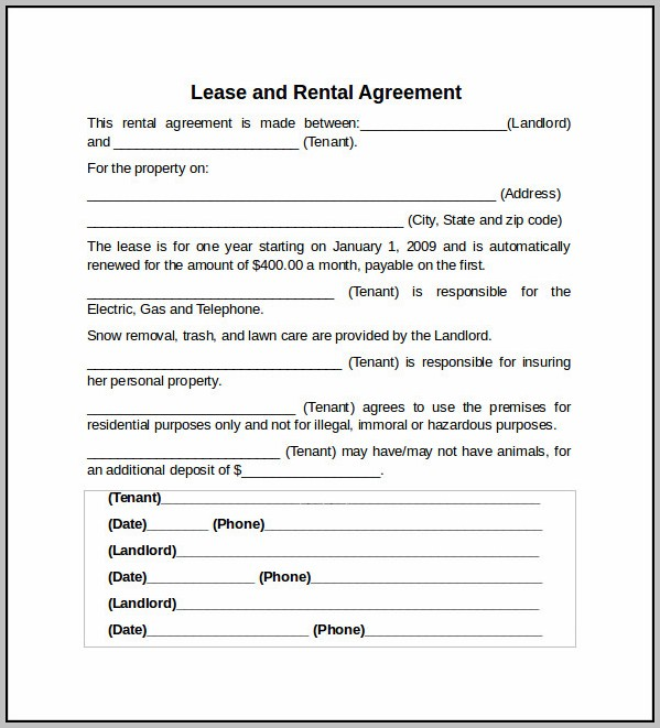 An Example Of A Lease Agreement