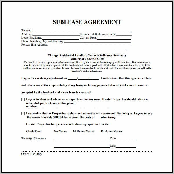 Apartment Sublease Agreement