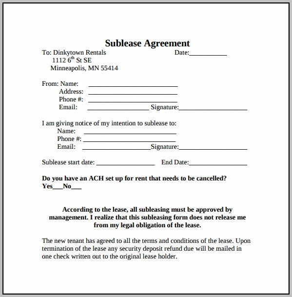 Basic Sublease Agreement Template