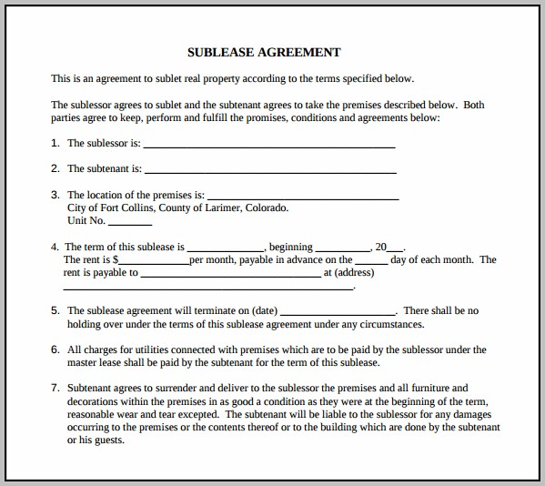 Basic Sublease Agreement