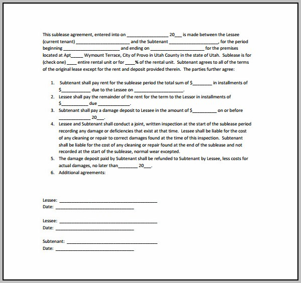 Basic Sublease Contract