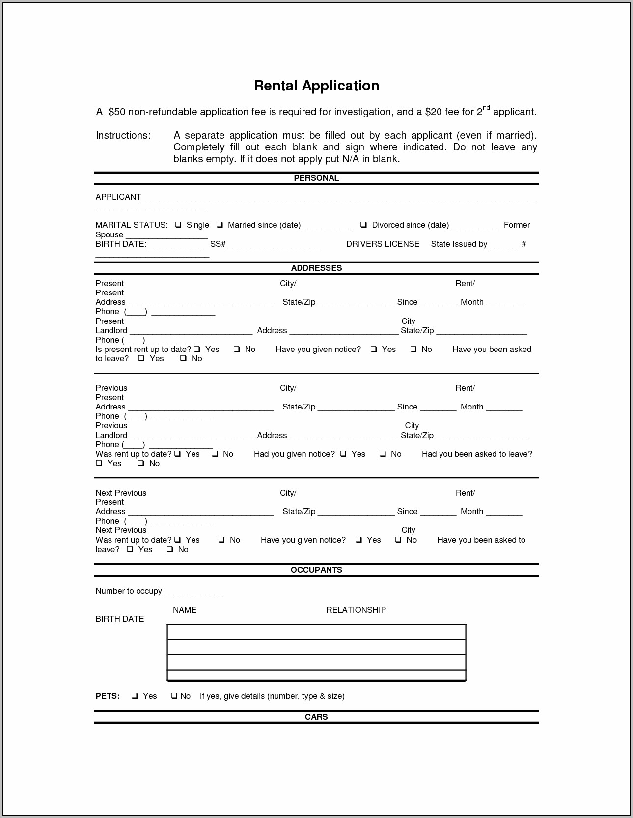 Blank Lease Form