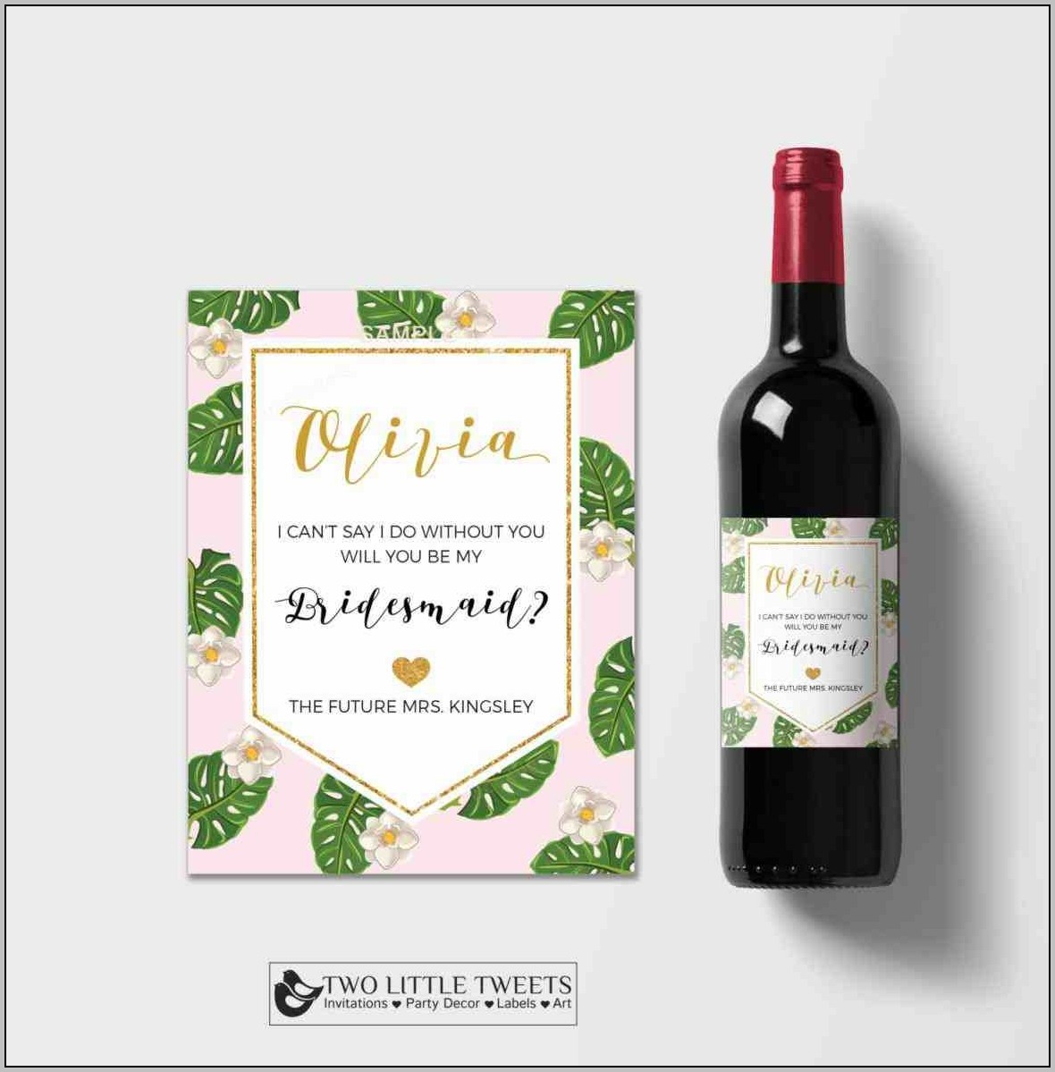 Bridesmaid Wine Label Template Free
