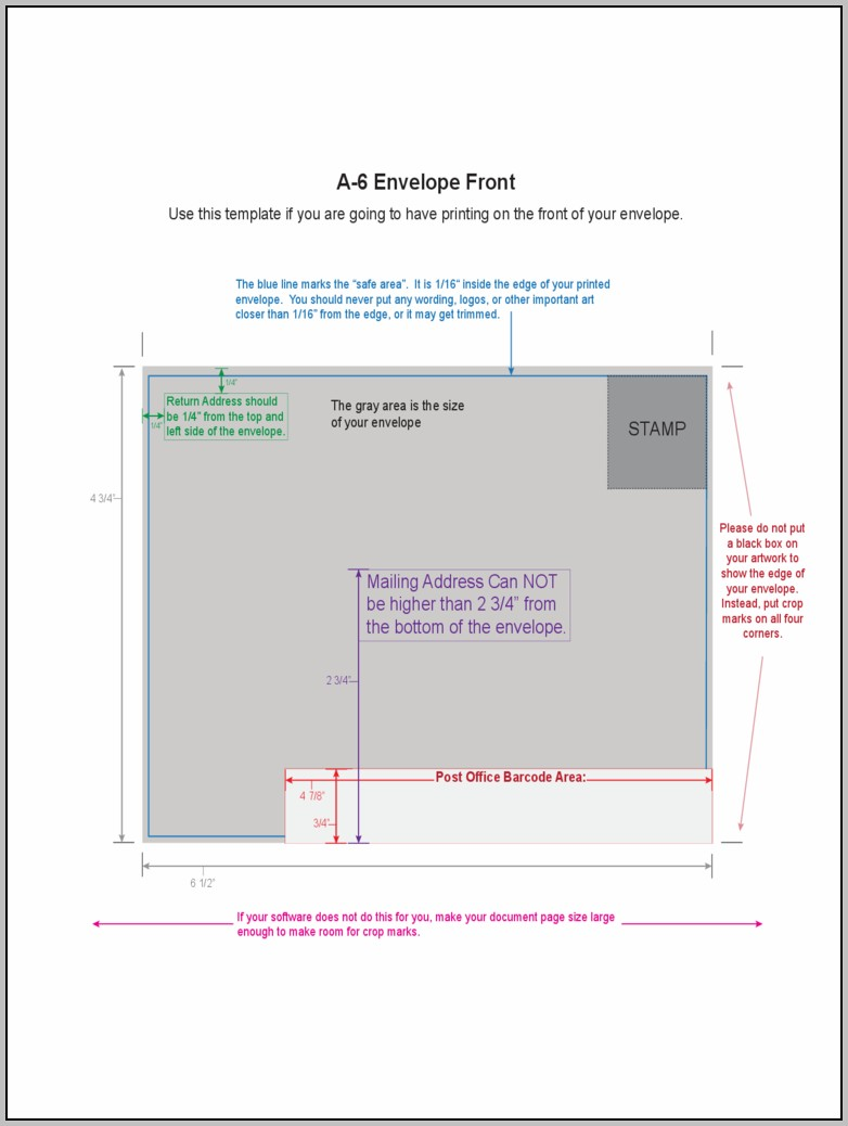 A6 Envelope Printing Template