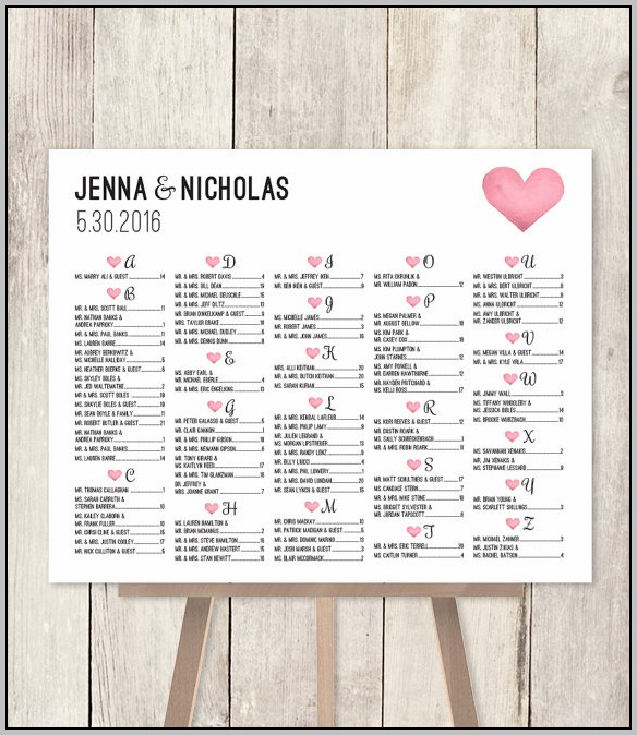 Alphabetical Wedding Seating Chart