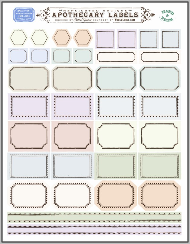 Apothecary Labels Template
