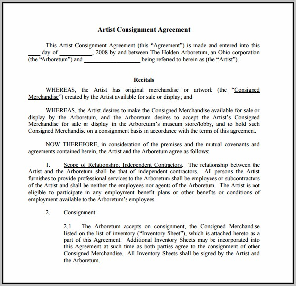 Art Consignment Agreement