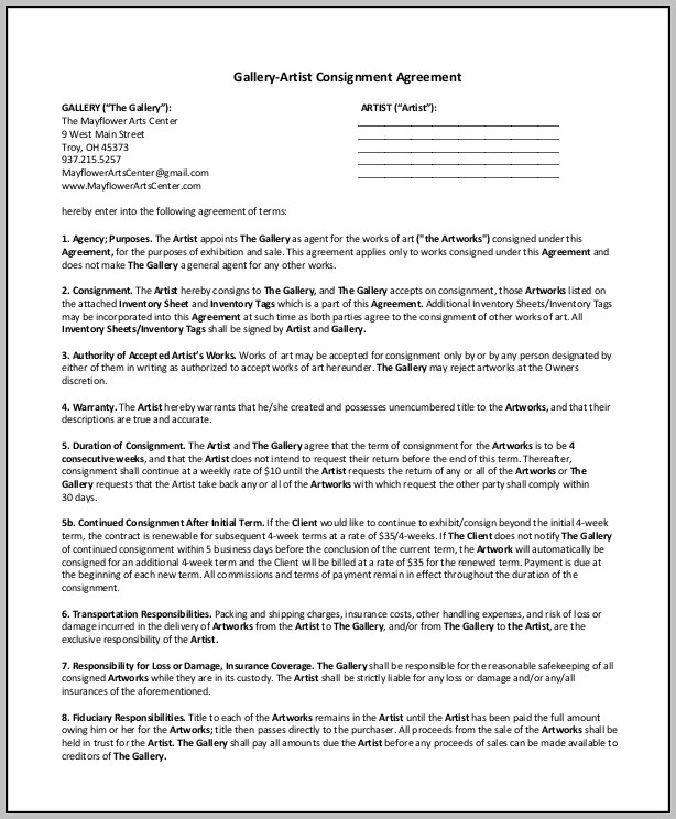 Art Gallery Consignment Agreement