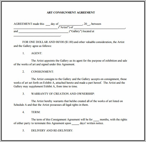 Artwork Consignment Agreement