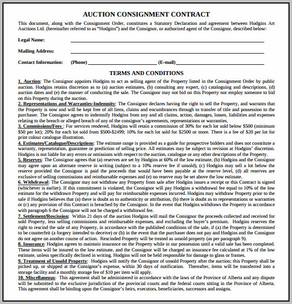 Auction Consignment Agreement