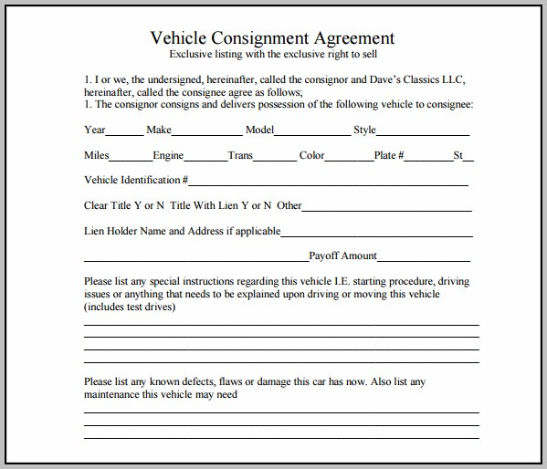 Auto Consignment Agreement