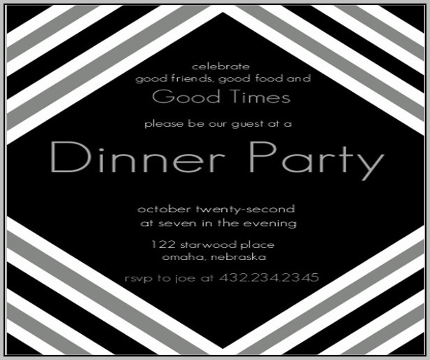 Black And White Dinner Party Invitations