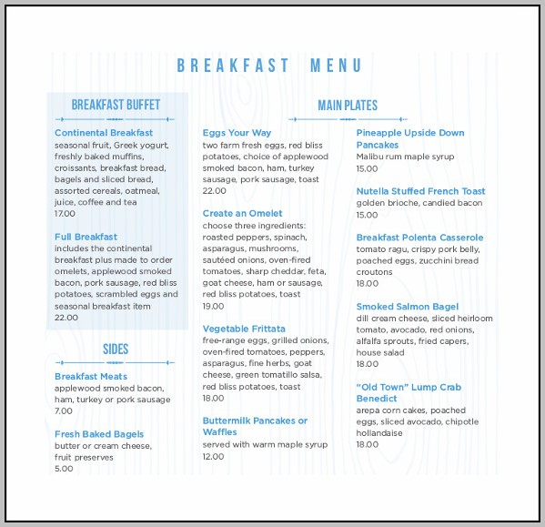 Breakfast Menu Template Free Download
