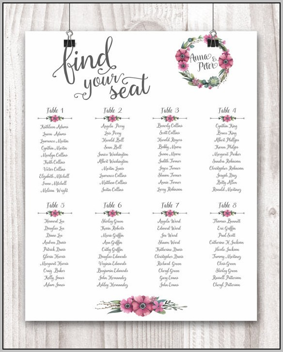 Bridal Party Seating Chart