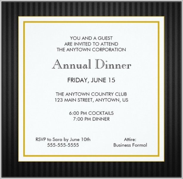 Business Dinner Invitation Cards