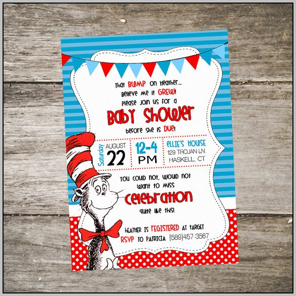 Cat And The Hat Baby Shower Invitations
