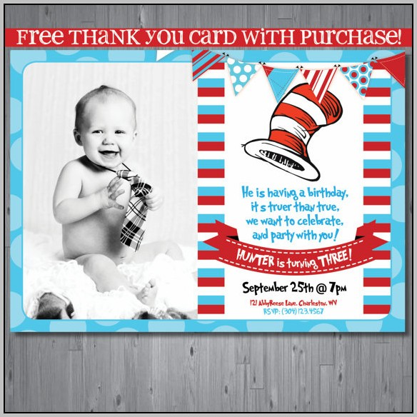 Cat In The Hat 1st Birthday Invitations