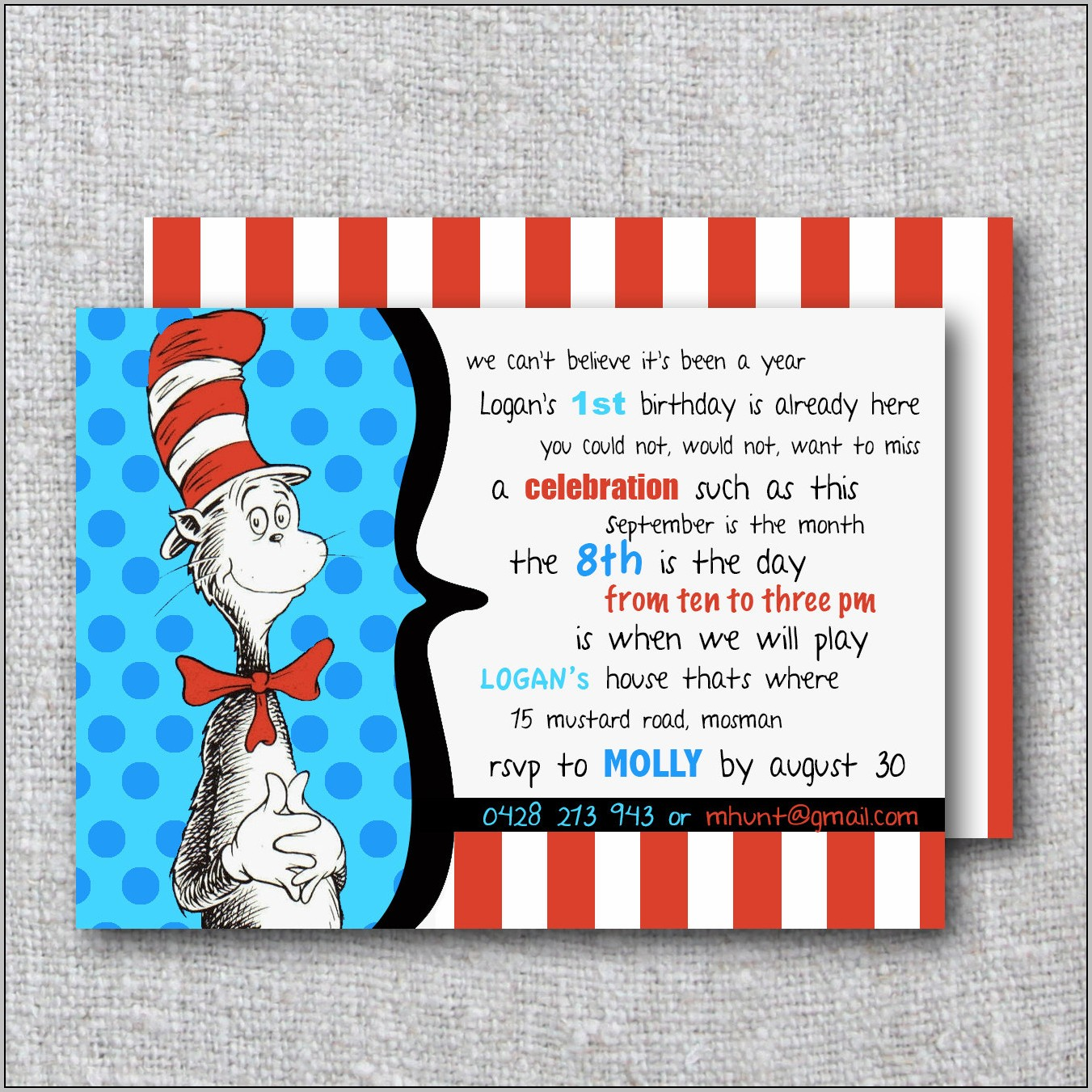 Cat In The Hat Birthday Invitations