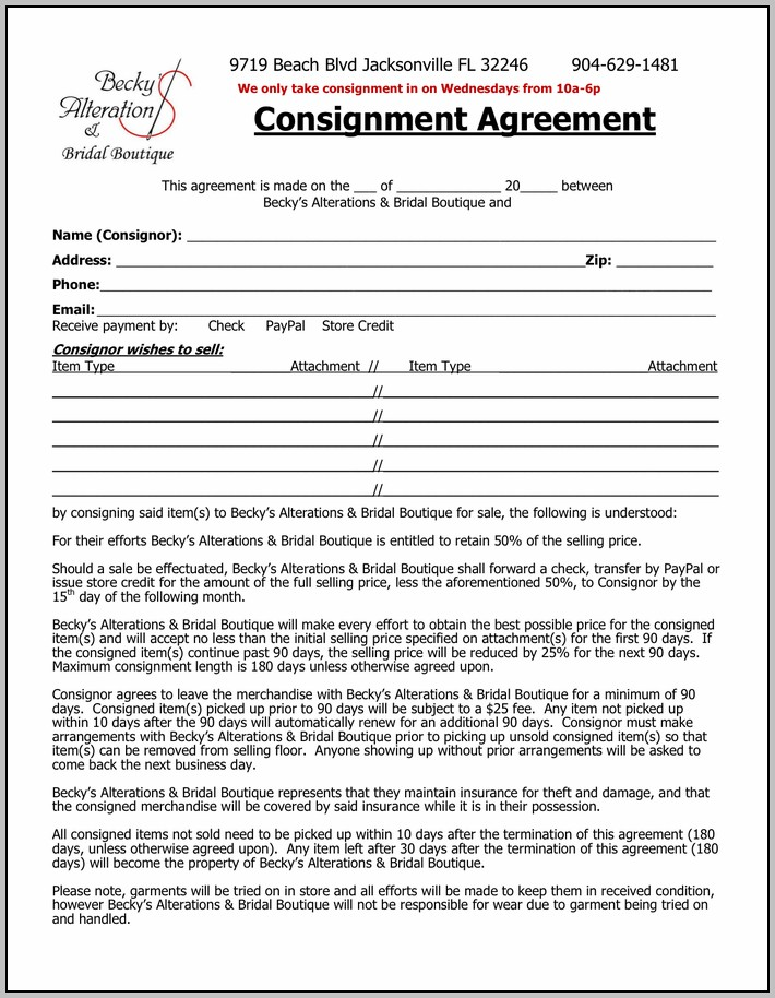 Clothing Consignment Contract