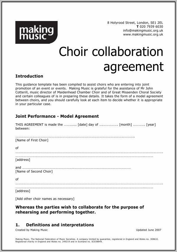 Collaboration Agreement Template