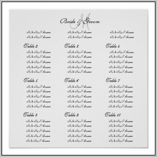 Create Wedding Seating Chart Poster