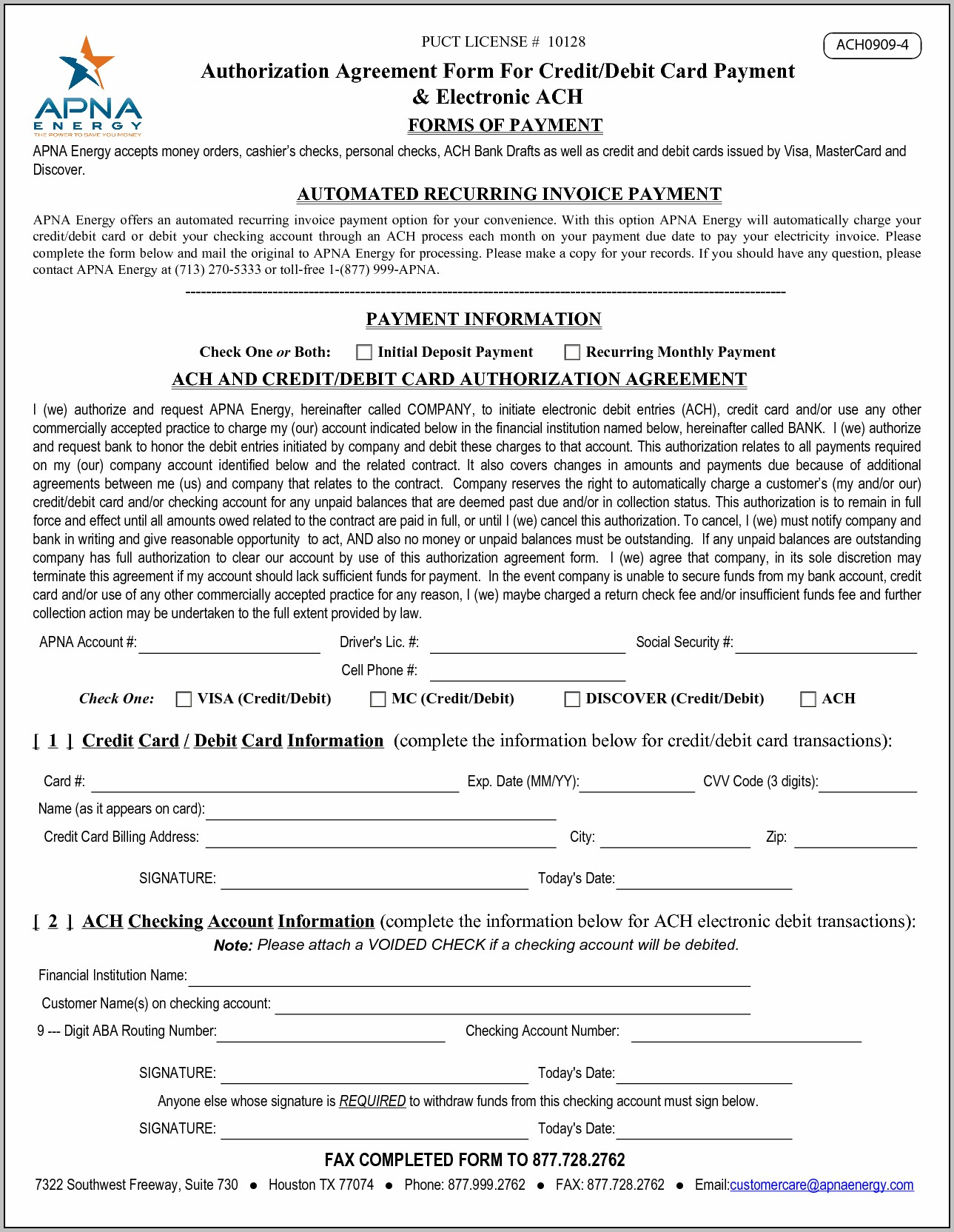 Ach Agreement Form