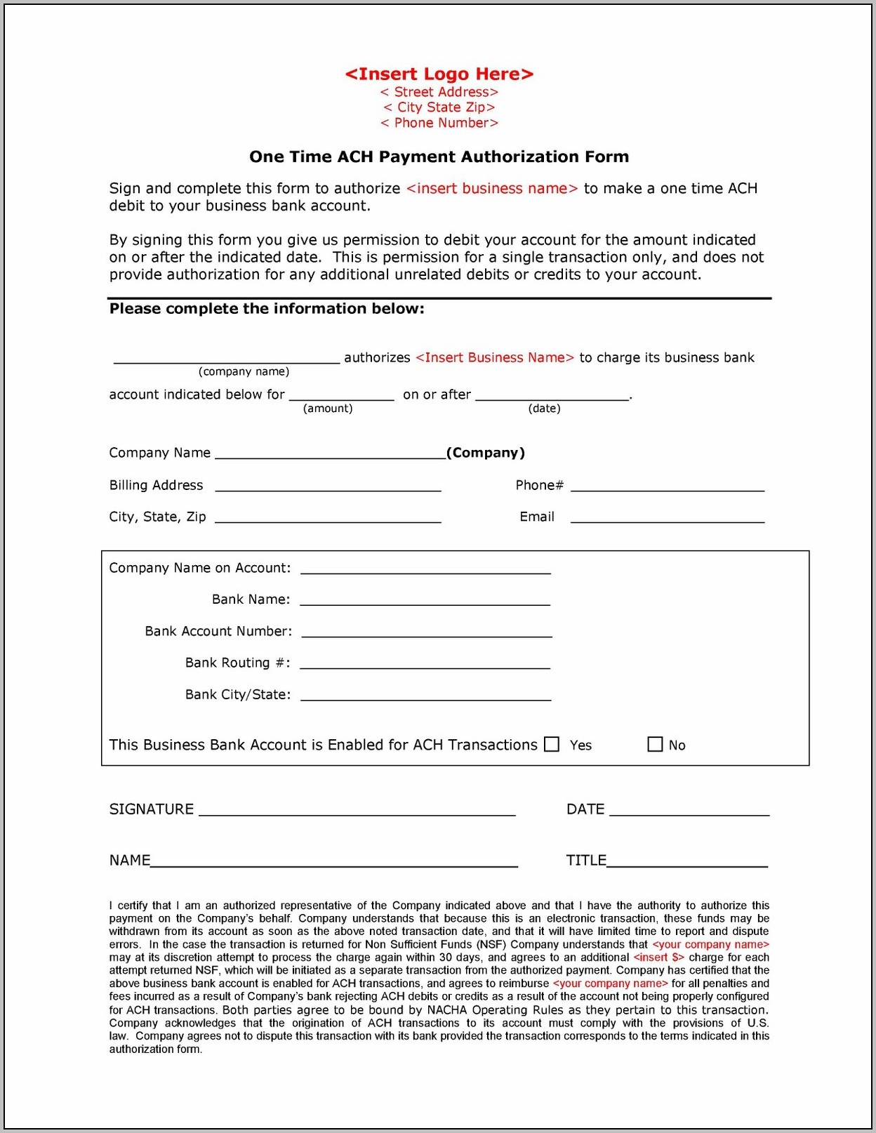 Ach Debit Authorization Form Template