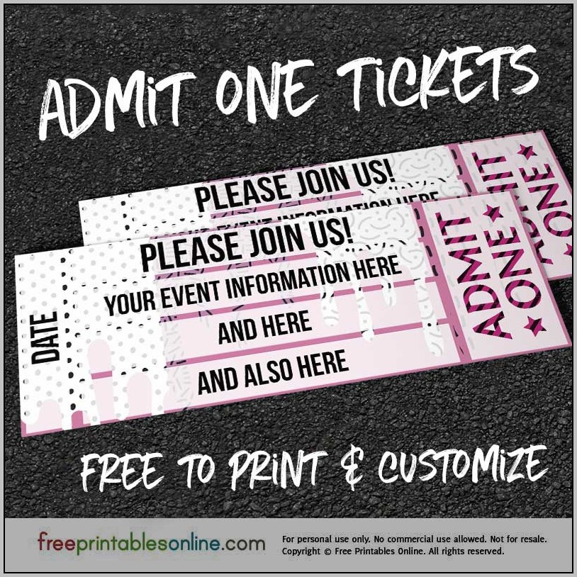 Admit 1 Ticket Template
