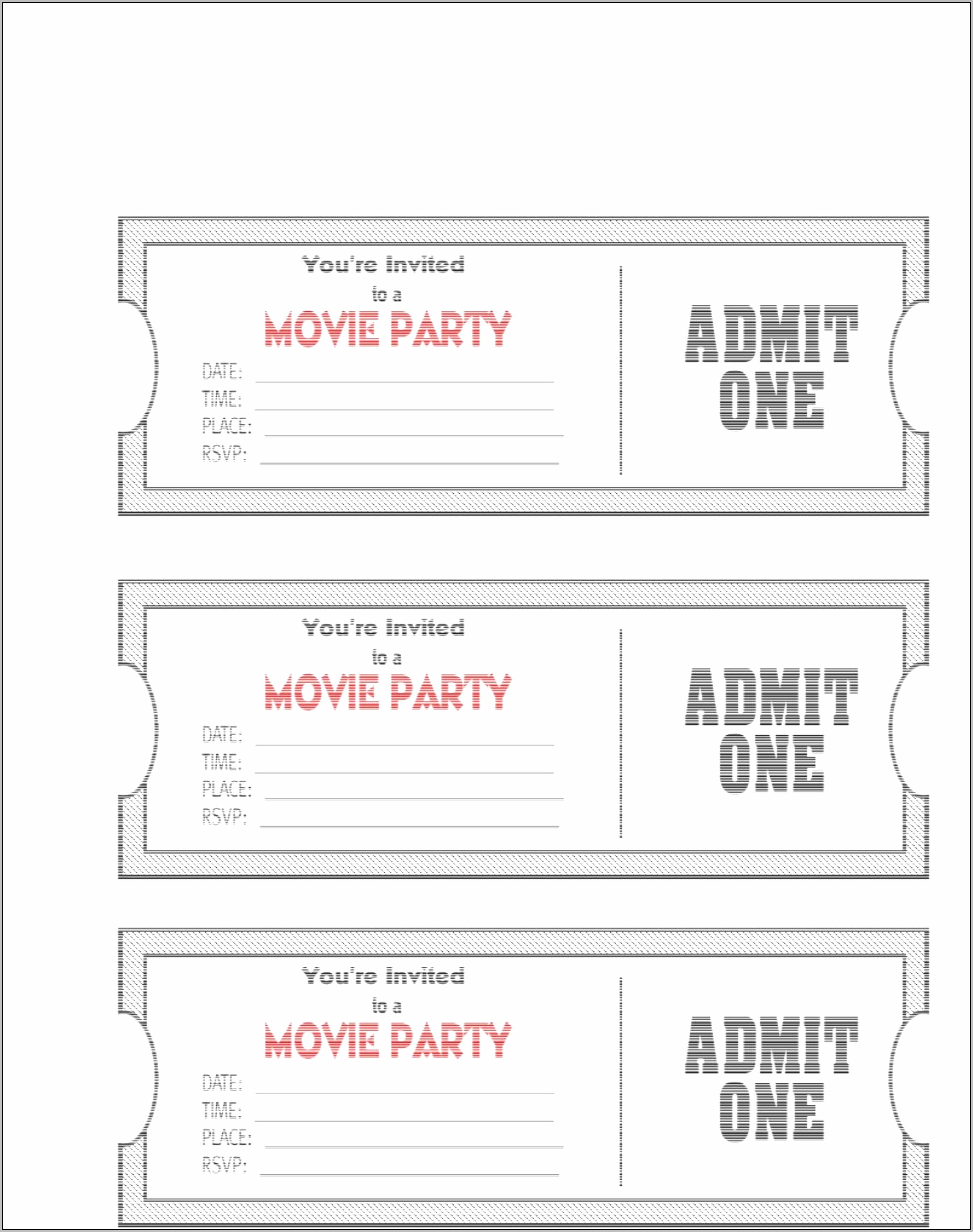 Admit One Invitations Template Free