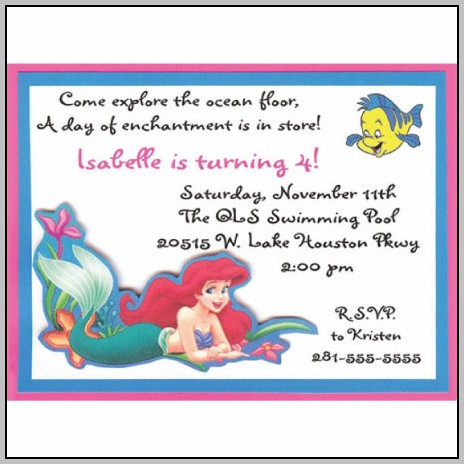 Ariel Birthday Invitation Wording