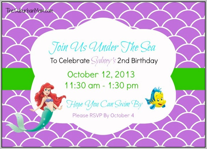 Ariel Party Invitations Free