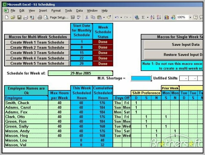 Automatic Shift Scheduler Excel