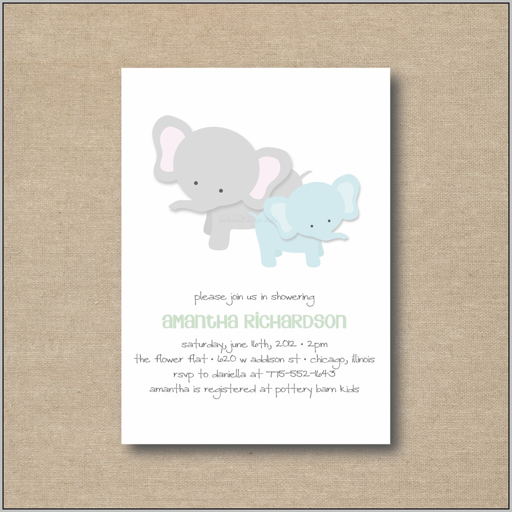 Baby Elephant Baby Shower Invitation Templates
