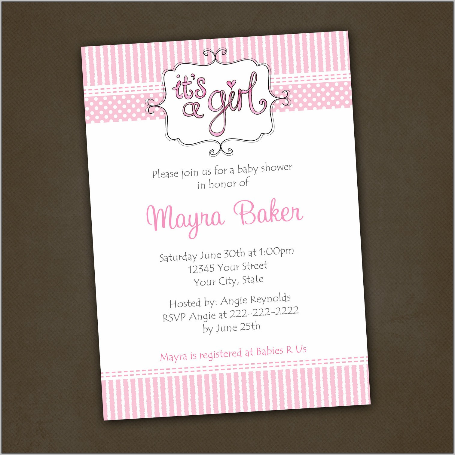 Baby Girl Shower Invitation Wording
