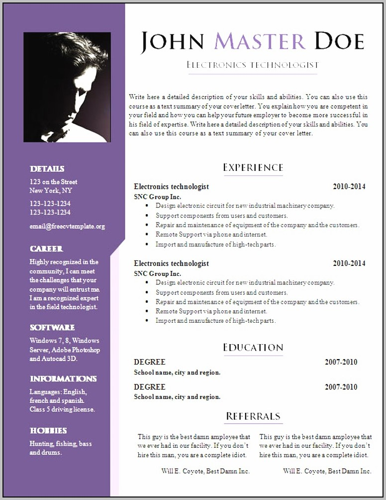 Best Resume Format Doc