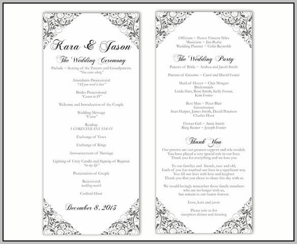 Black And White Wedding Program Template
