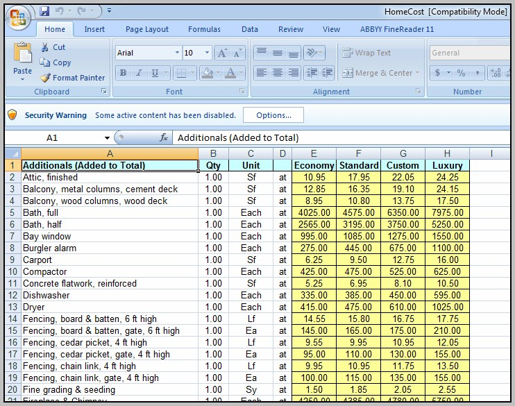 Building Construction Cost Calculator Free Download