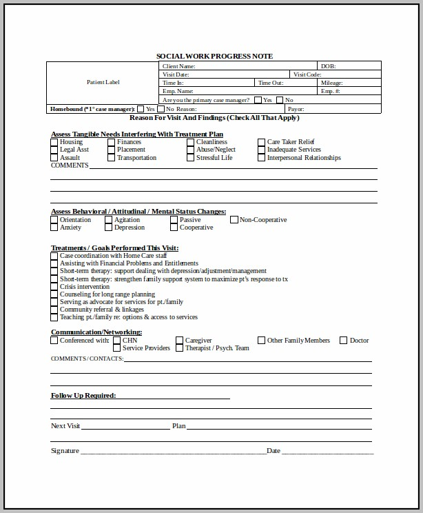 Case Note Template Social Work