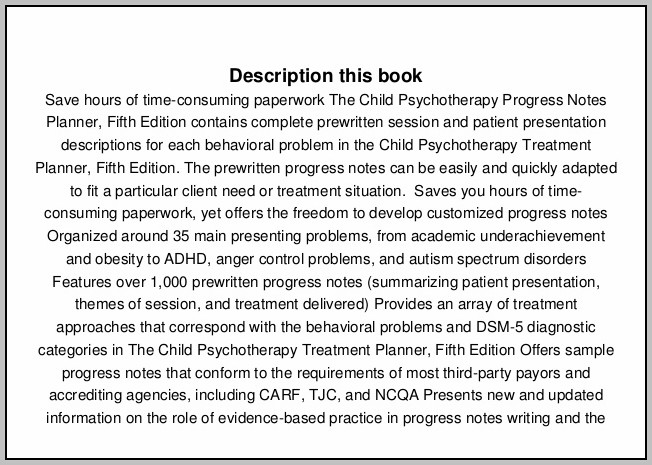 Child Psychotherapy Progress Notes Planner