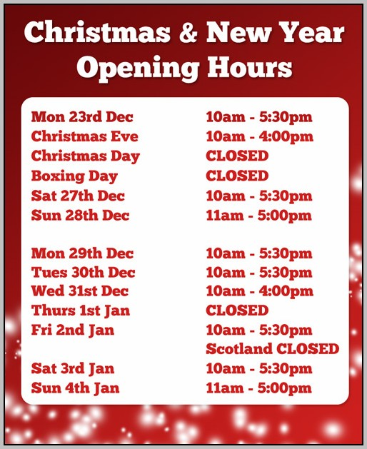 Christmas Opening Hours Template