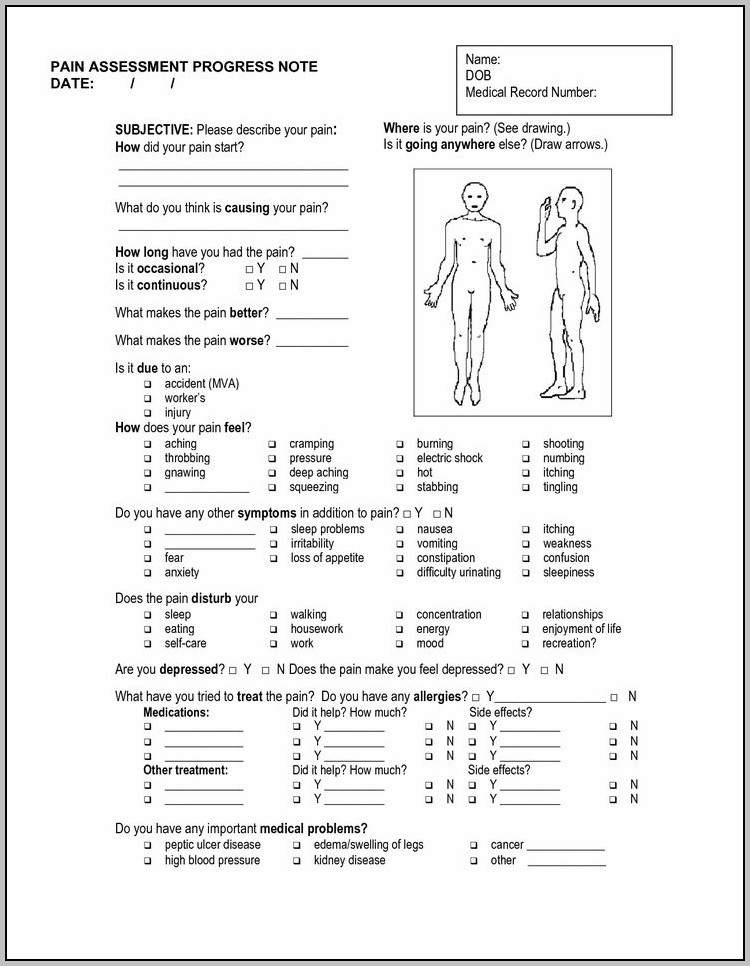 Clinical Notes Template Sample